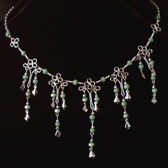 "NEW~""EMERALD FORTUNE""~Handmade Peruvian NECKLACE ~Alpaca Silver Jewelry ~Cat's Eyes beads"