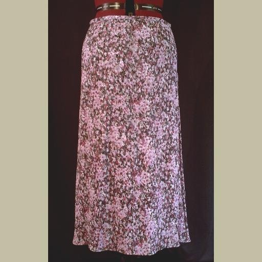 Gorgeous! Purple Floral SILK SKIRT~by VALERIE STEVENS~Long & Airy~size 14