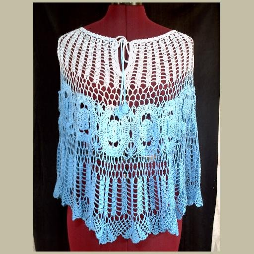 NEW~BLUE fading into WHITE~CROCHETED~PONCHO/TOP~New without Tags~Crochet