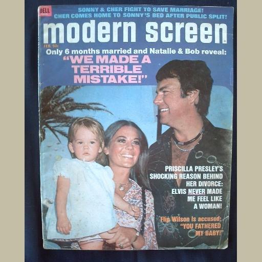 MODERN SCREEN~1973~v67/#2~VINTAGE CELEBRITY MAGAZINE~NAT. WOOD~Elvis~Al Pacino~Sonny~Cher~Adam West