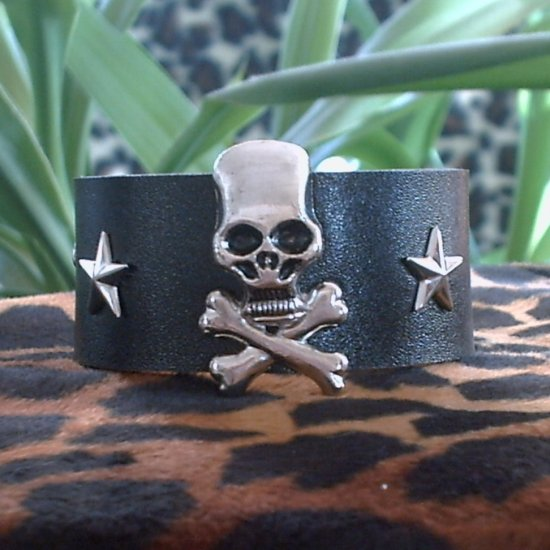 Black Pleather STUDDED CUFF BRACELET ~ Punk ~ Rock~Goth~Pirates ~large Skulls & Crossbones, Stars