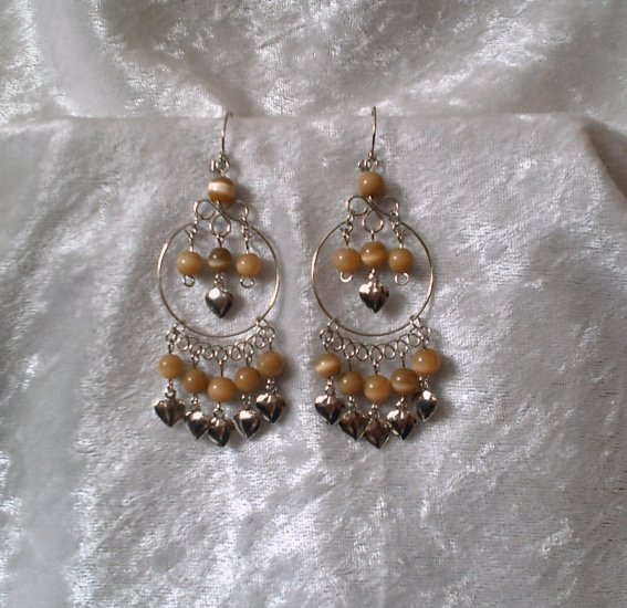 """Amber Gold Hoop"" HANDMADE Peruvian EARRINGS ~ Alpaca Silver Jewely ~ Cat's Eyes Beads"