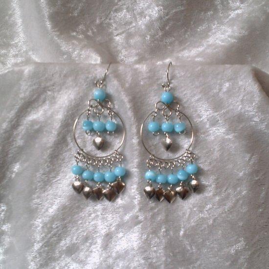 """Sky Blue Hoop"" HANDMADE Peruvian EARRINGS ~ Alpaca Silver Jewelry~ Dangling Cat's Eyes Beads"