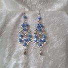 """Deep Sea Blue Diamonds"" HANDMADE Peruvian EARRINGS ~Alpaca Silver Jewelry ~Cat's Eyes Beads"