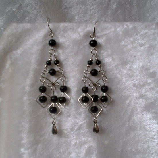 """Black Midnight Diamonds"" HANDMADE Peruvian EARRINGS ~Alpaca Silver Jewelry ~Cat's Eyes Beads"