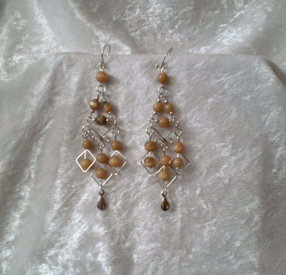 """Amber Gold Diamonds"" HANDMADE Peruvian EARRINGS ~Alpaca Silver Jewelry ~Cat's Eyes Beads"