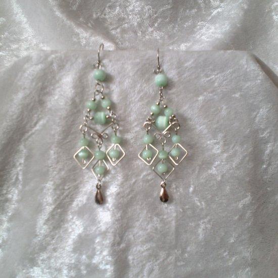 """Pale Emerald Diamonds"" HANDMADE Peruvian EARRINGS ~Alpaca Silver Jewelry ~Cat's Eyes Beads"