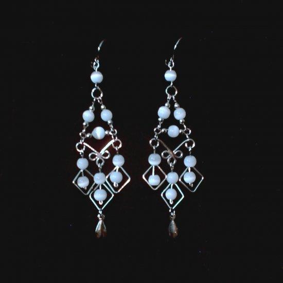 """White Pearl Diamonds"" HANDMADE Peruvian EARRINGS ~Alpaca Silver Jewelry ~Cat's Eyes Beads"