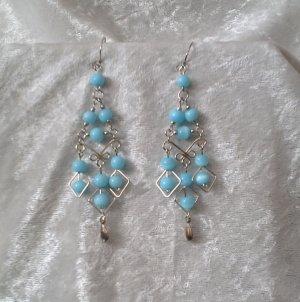 """Sky Blue Diamonds"" HANDMADE Peruvian EARRINGS ~Alpaca Silver Jewelry ~Cat's Eyes Beads"