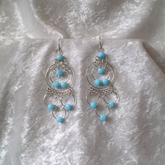 """Endless Blue Sky Hoops"" HANDMADE Peruvian EARRINGS ~Alpaca Silver Jewelry ~Cat's Eyes Beads"