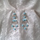 """Endless Blue Sky Hoops"" HANDMADE Peruvian EARRINGS ~Alpaca Silver Jewelry ~Cat's Eyes Beads"