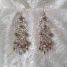 """Celtic Cascades in Lilac"" HANDMADE Peruvian EARRINGS ~Alpaca Silver Jewelry ~Cat's Eyes Beads"