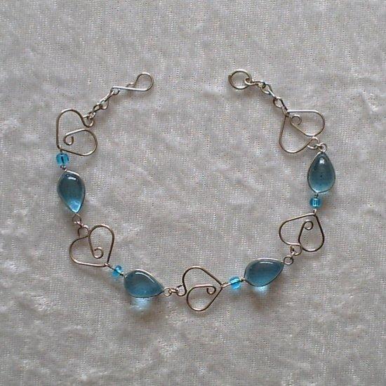 """SKY BLUE MURANO HEARTS"" HANDMADE PERUVIAN BRACELET ~Alpaca Silver Jewelry ~Murano Glass"
