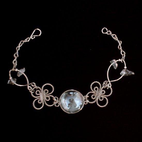 """CLEAR MURANO CELTIC CLOVERS"" HANDMADE PERUVIAN Bracelet ~Alpaca Silver Jewelry ~Cascajo nuggets"