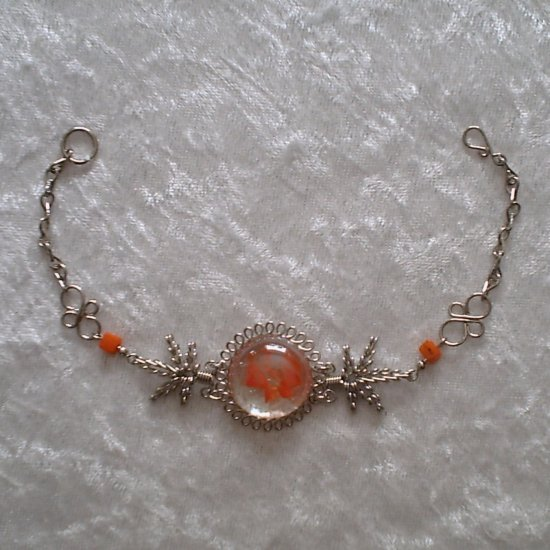 """ORANGE FLAMES MURANO COILS"" HANDMADE PERUVIAN Bracelet ~Alpaca Silver Jewelry ~Cascajo nuggets"