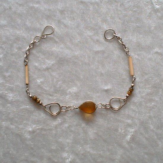 """AMBER TEARDROP"" MURANO/BAMBOO Bracelet~HANDMADE PERUVIAN Alpaca Silver Jewelry ~Cat's Eyes beads"
