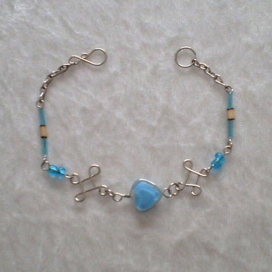 """BLUE HEART IN KNOTS"" MURANO glass & BAMBOO beads BRACELET~HANDMADE Peruvian Alpaca Silver Jewelry"