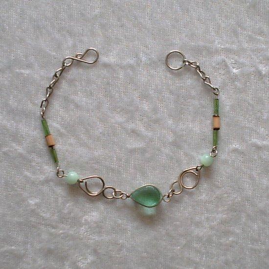 """PALE GREEN TEARS""~MURANO & BAMBOO BRACELET ~HANDMADE Peruvian Alpaca Silver Jewelry~Cat's Eye beads"