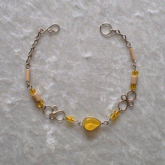 """""""SUNDROPS"""" MURANO glass, BAMBOO & WOOD beads Bracelet ~HANDMADE Peruvian Alpaca Silver Jewelry"""