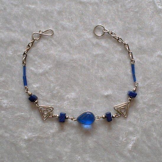 """TRIBAL BLUE"" MURANO glass & CASCAJO nugget beads BRACELET ~HANDMADE Peruvian Alpaca Silver Jewelry"