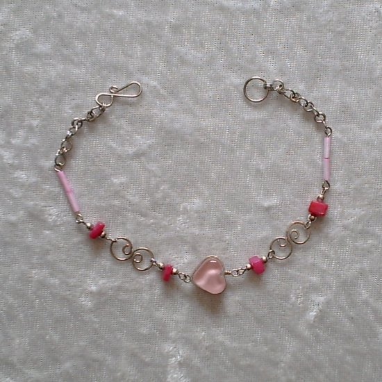 """CELTIC SPIRAL BLUSH"" MURANO glass & CASCAJO beads BRACELET ~HANDMADE Peruvian Alpaca Silver Jewelry"