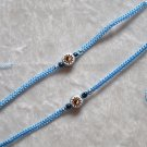 HANDMADE PERUVIAN BEADED FRIENDSHIP BRACELET ~ Light blue with Yin-Yang Sun bead ~Jewelry