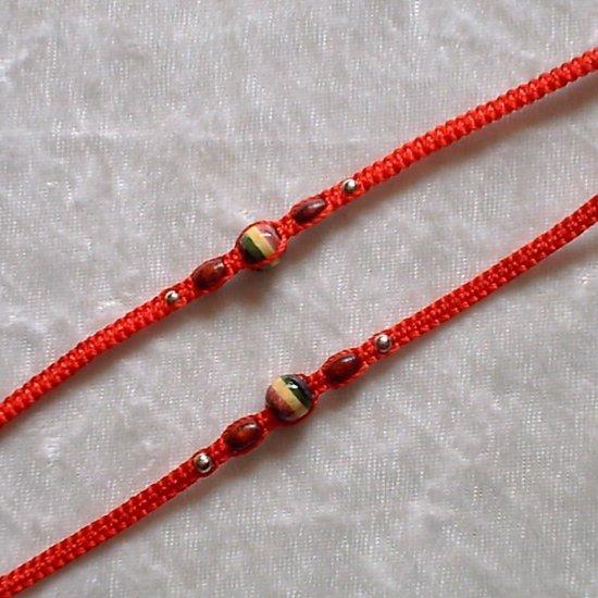 HANDMADE PERUVIAN BEADED FRIENDSHIP BRACELET ~Red with Rasta style & Wood beads ~Jewelry