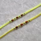 HANDMADE PERUVIAN BEADED FRIENDSHIP BRACELET ~Neon Yellow with Wood beads ~Jewelry