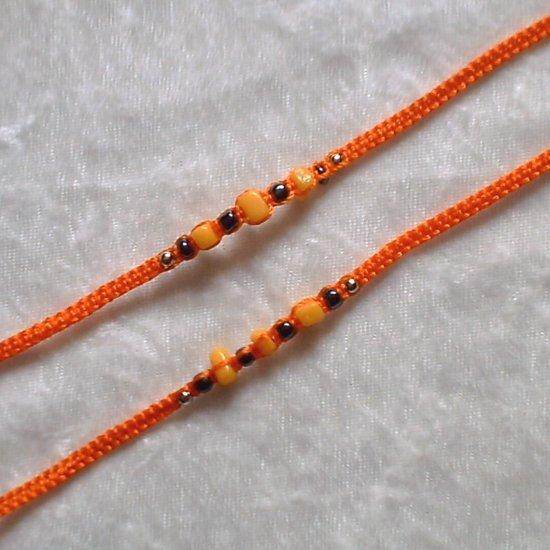 HANDMADE PERUVIAN BEADED FRIENDSHIP BRACELET ~Orange, w/Yellow Cascajo nuggets (Halloween) ~Jewelry