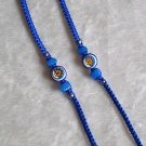 HANDMADE PERUVIAN BEADED FRIENDSHIP BRACELET ~Blue with Sun & Moon bead, Cascajo nuggets ~Jewelry