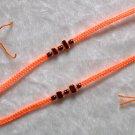 HANDMADE PERUVIAN BEADED FRIENDSHIP BRACELET ~Orange with Black Cascajo nuggets ~Jewelry