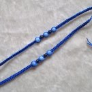 HANDMADE PERUVIAN BEADED FRIENDSHIP BRACELET ~Blue with Light Blue Cat's Eye beads ~Jewelry