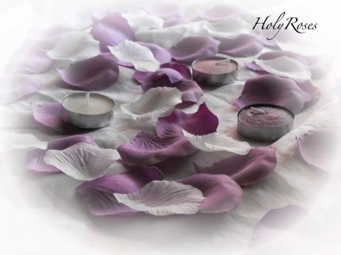 100 Mix of Mauve & Ivory Silk Rose Petals Weddings Crafts (Large)