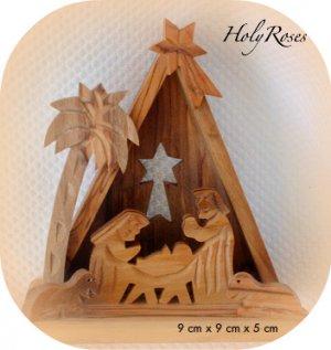 Bethlehem Carved Olive Wood Xmas Nativity Scene (TRI)