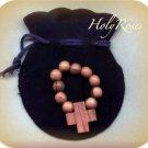 Olive Wood Finger Rosary in Velvet Pouch