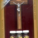 Olive Wood Crucifix with Holy Oil, Water & Earth