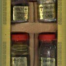 Olive Wood Cross Set with 4 Bottles (B) (Oil, Water, Incense & Earth)