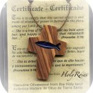 Ichthys in Cross with Blue Acrylic Inlay - Olive Wood Pendant