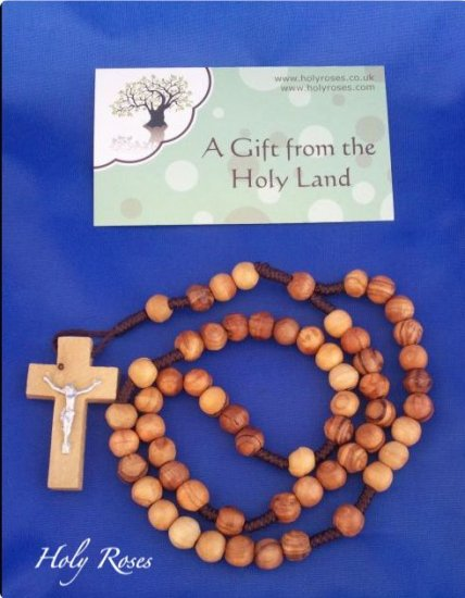 Olive Wood Rope (Brown) Rosary with Crucifix  - from Bethlehem