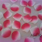 100 White & Fuscia Two Tone Silk Rose Petals Weddings Crafts (Large)