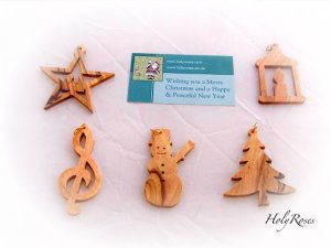 5 x Olive Wood Christmas Tree Ornaments Decorations - Mixed Design
