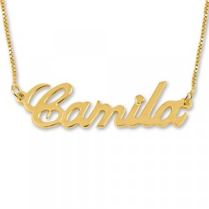 18K Gold Plated Personalized Sterling Silver English Any Name Necklace with Box Chain