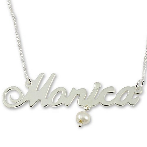 Sterling Silver Personalized English Name Necklace with Hanging Pearl & Box Chain