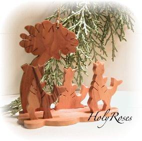 Mini Olive Wood Nativity - 3 Kings - for Xmas Tree - Gift Boxed