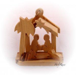 Mini Olive Wood Nativity Scene with Christmas Tree (D)
