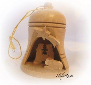 Bethlehem Bell Olive Wood Nativity Ornament (Small)