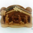 Hand Carved Olive Wood Christmas  Nativity Scene with Bark Roof  (RAF47)