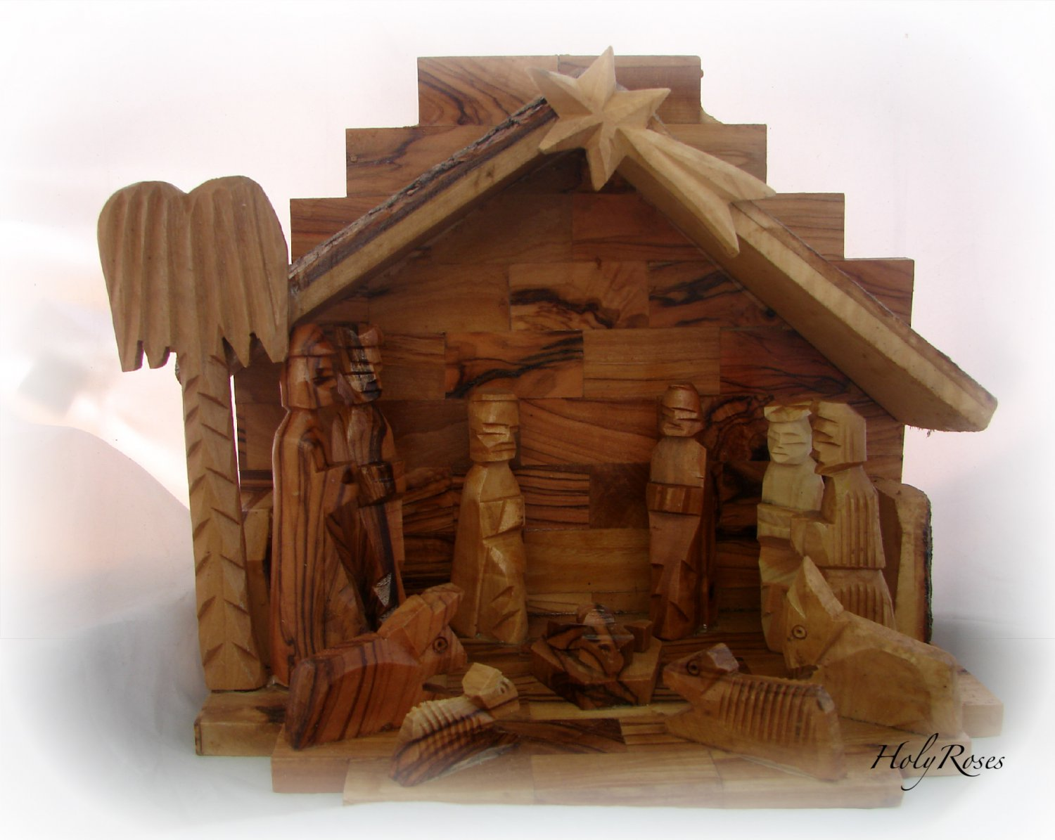 OLIVEWOOD CHRISTMAS NATIVITY SCENE WITH BARK ROOF  & BELL - 5 Blocks