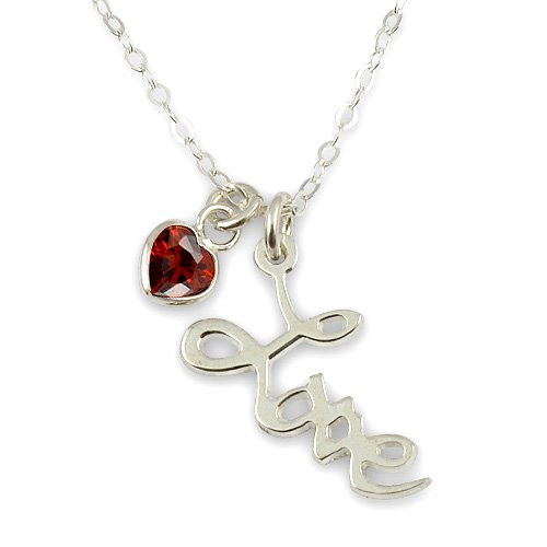 Sterling Silver Love Pendant with Heart shaped Stone