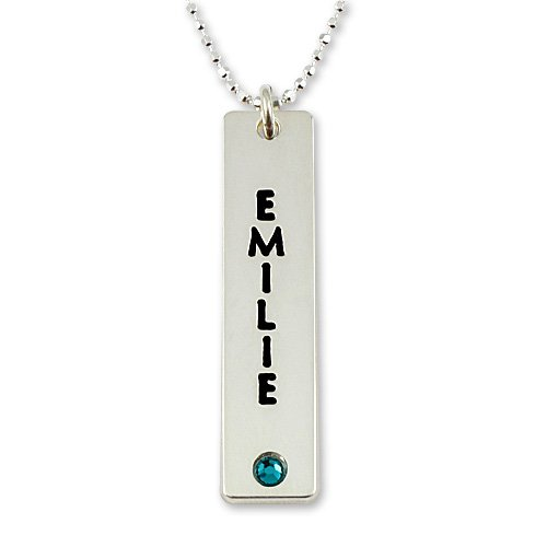 Sterling Silver Personalized Bar Birthstone Pendant (010021)